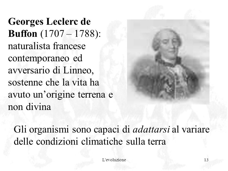 Georges Leclerc de Buffon (1707 – 1788): naturalista francese contemporaneo ed avversario di Linneo, sostenne che la vita ha avuto un'origine terrena e non divina