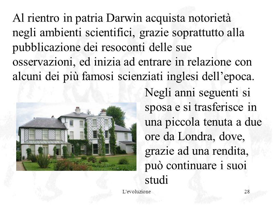 Al rientro in patria Darwin acquista notorietà negli ambienti scientifici, grazie soprattutto alla pubblicazione dei resoconti delle sue osservazioni, ed inizia ad entrare in relazione con alcuni dei più famosi scienziati inglesi dell'epoca.