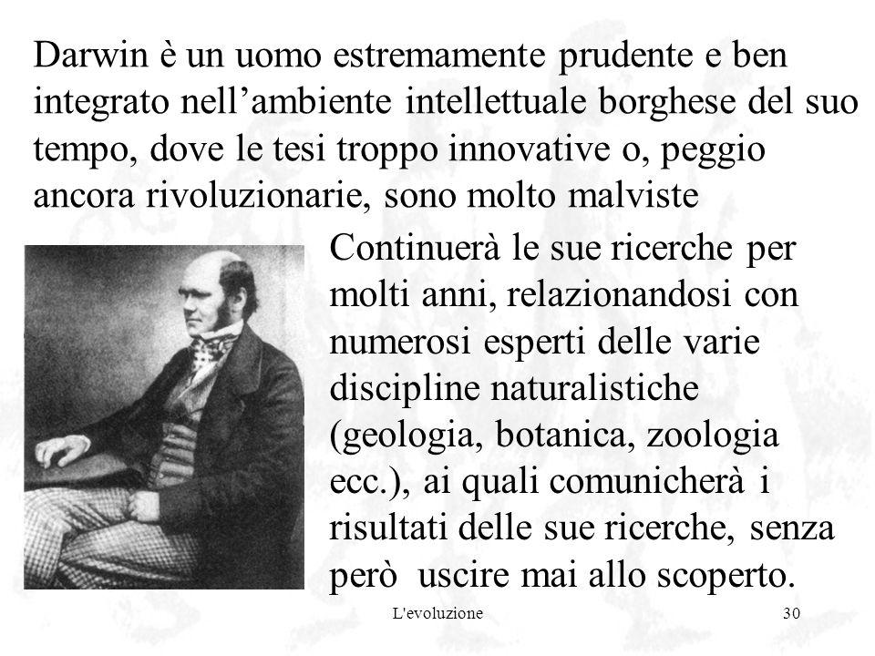 Darwin è un uomo estremamente prudente e ben integrato nell'ambiente intellettuale borghese del suo tempo, dove le tesi troppo innovative o, peggio ancora rivoluzionarie, sono molto malviste