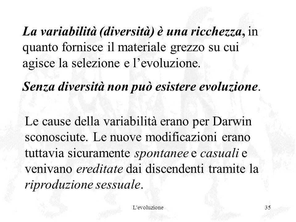 Senza diversità non può esistere evoluzione.