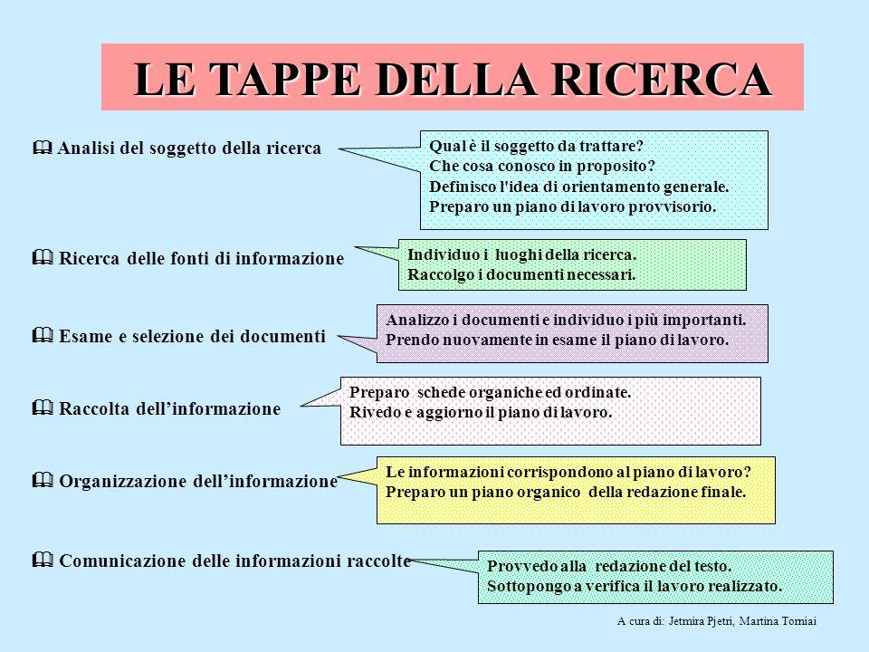 LE TAPPE DELLA RICERCA  Ricerca delle fonti di informazione