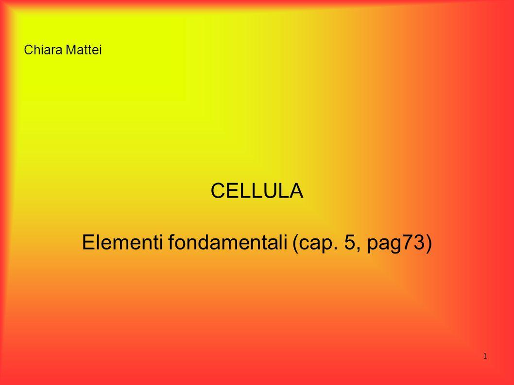 CELLULA Elementi fondamentali (cap. 5, pag73)