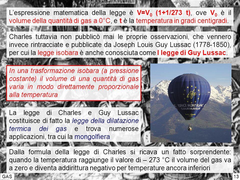 L'espressione matematica della legge è V=V0 (1+1/273 t), ove V0 è il volume della quantità di gas a 0°C, e t è la temperatura in gradi centigradi.