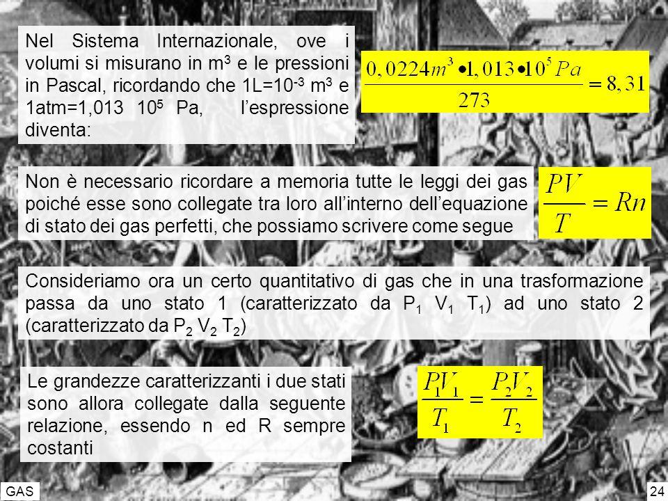 Nel Sistema Internazionale, ove i volumi si misurano in m3 e le pressioni in Pascal, ricordando che 1L=10-3 m3 e 1atm=1,013 105 Pa, l'espressione diventa: