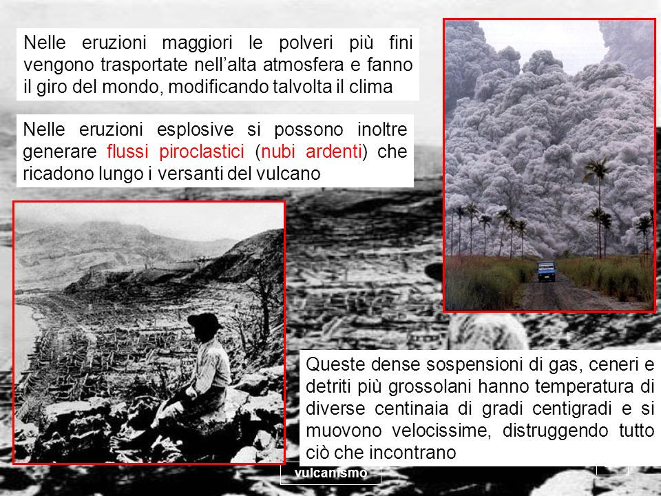 Nelle eruzioni maggiori le polveri più fini vengono trasportate nell'alta atmosfera e fanno il giro del mondo, modificando talvolta il clima