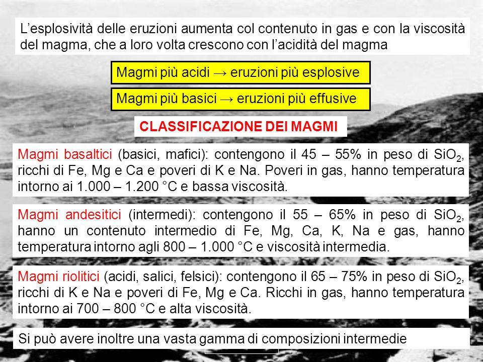 Magmi più acidi → eruzioni più esplosive