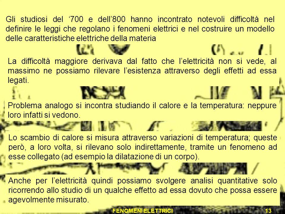 Gli studiosi del '700 e dell'800 hanno incontrato notevoli difficoltà nel definire le leggi che regolano i fenomeni elettrici e nel costruire un modello delle caratteristiche elettriche della materia
