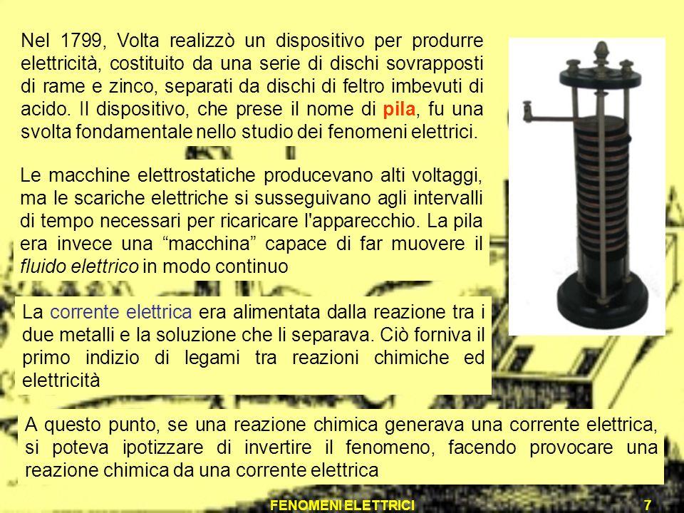 Nel 1799, Volta realizzò un dispositivo per produrre elettricità, costituito da una serie di dischi sovrapposti di rame e zinco, separati da dischi di feltro imbevuti di acido. Il dispositivo, che prese il nome di pila, fu una svolta fondamentale nello studio dei fenomeni elettrici.