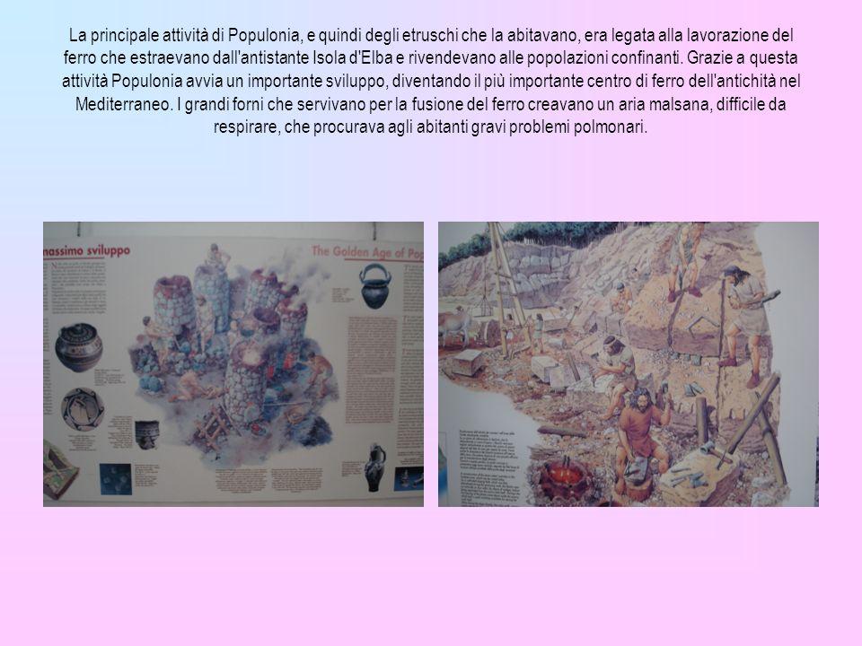 La principale attività di Populonia, e quindi degli etruschi che la abitavano, era legata alla lavorazione del ferro che estraevano dall antistante Isola d Elba e rivendevano alle popolazioni confinanti.