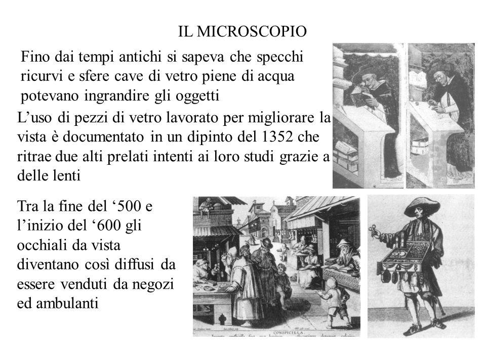 IL MICROSCOPIO Fino dai tempi antichi si sapeva che specchi ricurvi e sfere cave di vetro piene di acqua potevano ingrandire gli oggetti.