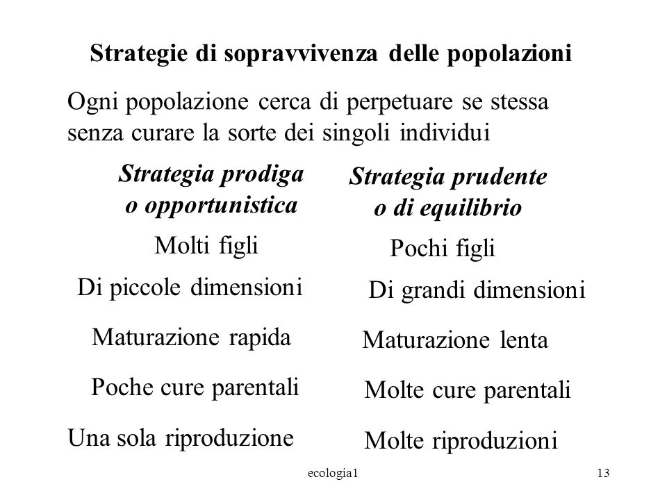 Strategia prodiga o opportunistica Strategia prudente o di equilibrio