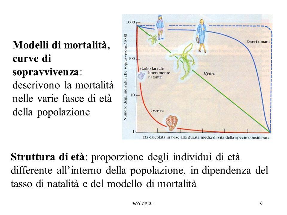 Modelli di mortalità, curve di sopravvivenza: descrivono la mortalità nelle varie fasce di età della popolazione
