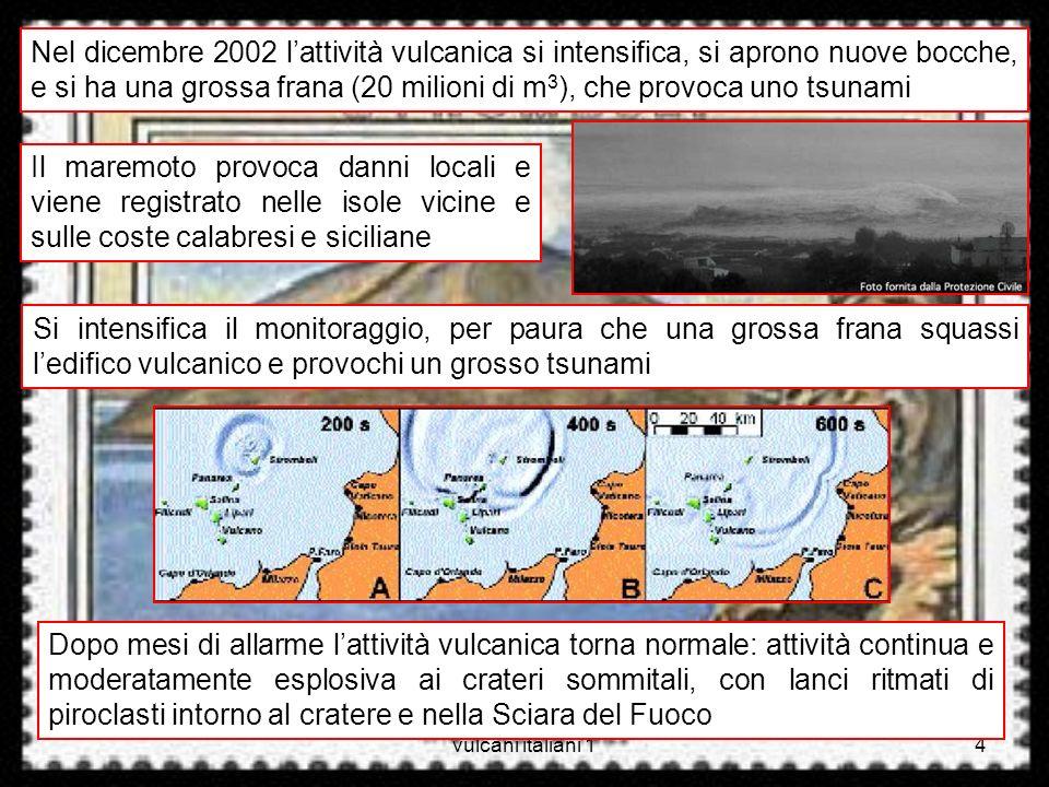 Nel dicembre 2002 l'attività vulcanica si intensifica, si aprono nuove bocche, e si ha una grossa frana (20 milioni di m3), che provoca uno tsunami