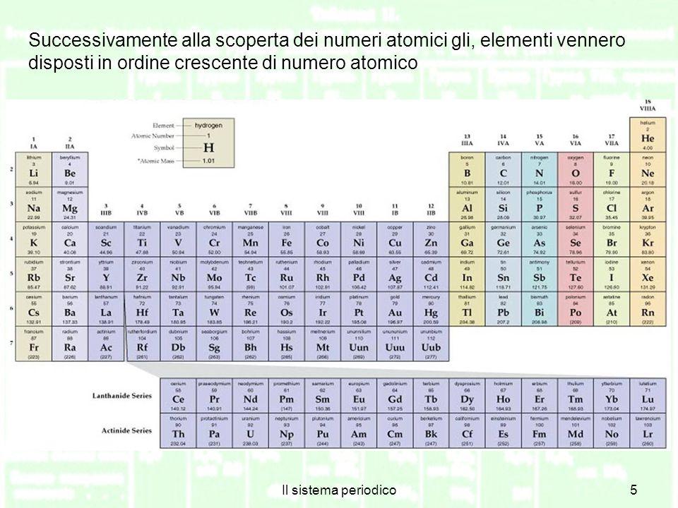Successivamente alla scoperta dei numeri atomici gli, elementi vennero disposti in ordine crescente di numero atomico