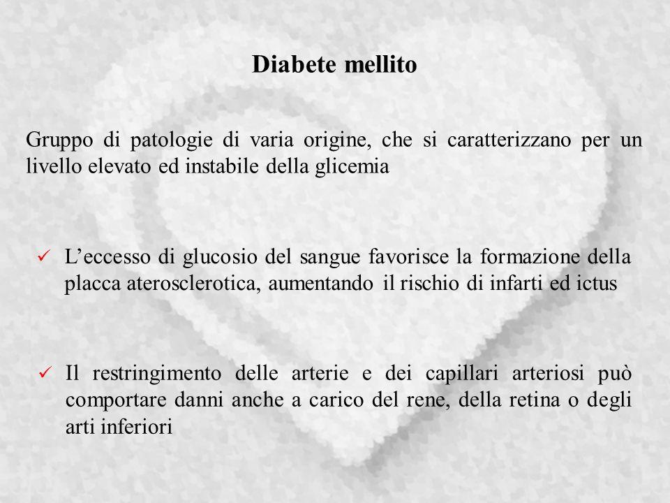 Diabete mellito Gruppo di patologie di varia origine, che si caratterizzano per un livello elevato ed instabile della glicemia.