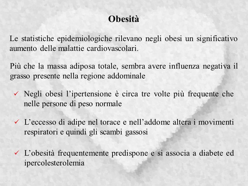 Obesità Le statistiche epidemiologiche rilevano negli obesi un significativo aumento delle malattie cardiovascolari.