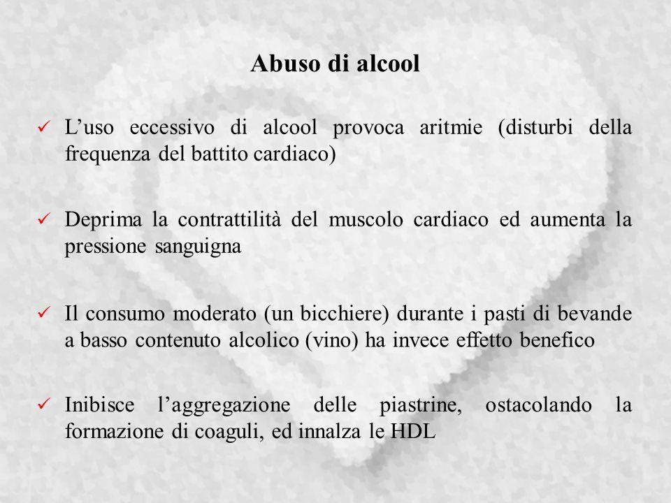Abuso di alcool L'uso eccessivo di alcool provoca aritmie (disturbi della frequenza del battito cardiaco)
