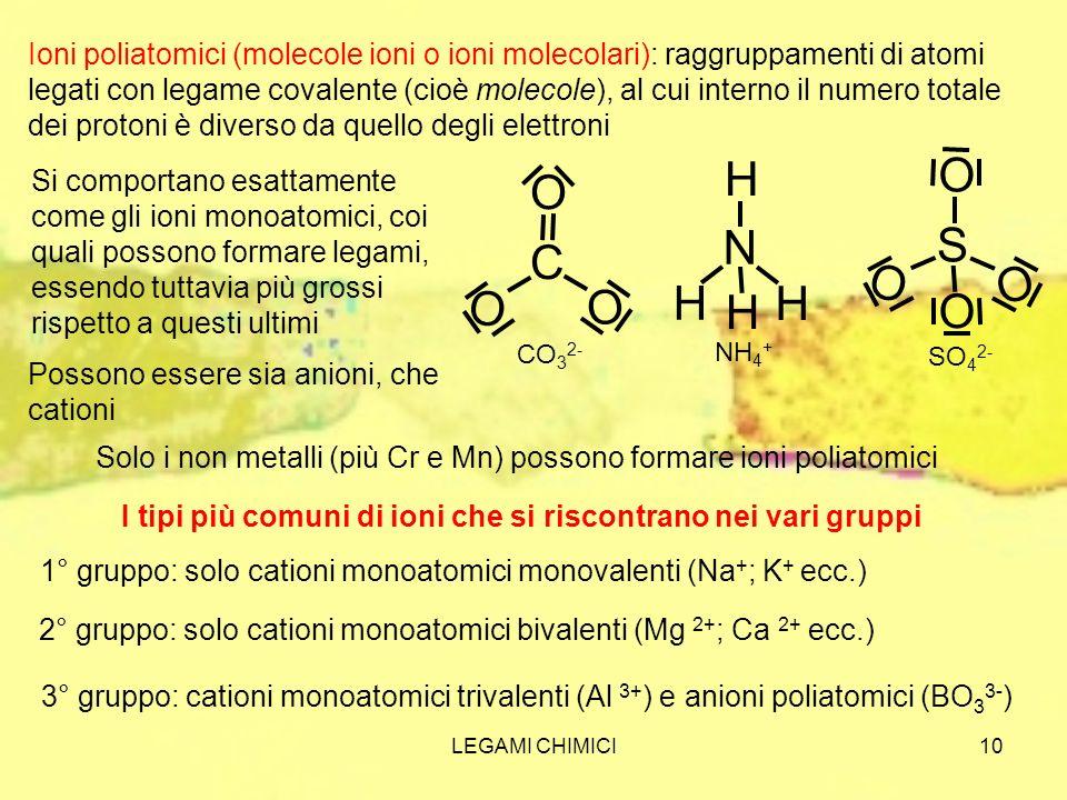 Ioni poliatomici (molecole ioni o ioni molecolari): raggruppamenti di atomi legati con legame covalente (cioè molecole), al cui interno il numero totale dei protoni è diverso da quello degli elettroni