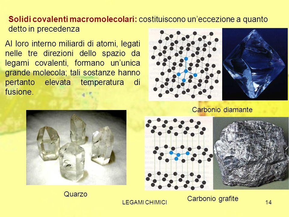 Solidi covalenti macromolecolari: costituiscono un'eccezione a quanto detto in precedenza