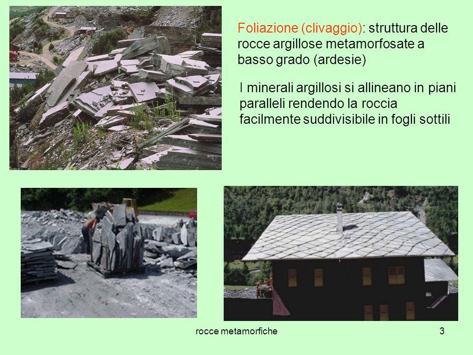 Foliazione (clivaggio): struttura delle rocce argillose metamorfosate a basso grado (ardesie)