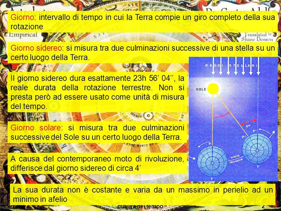 Giorno: intervallo di tempo in cui la Terra compie un giro completo della sua rotazione