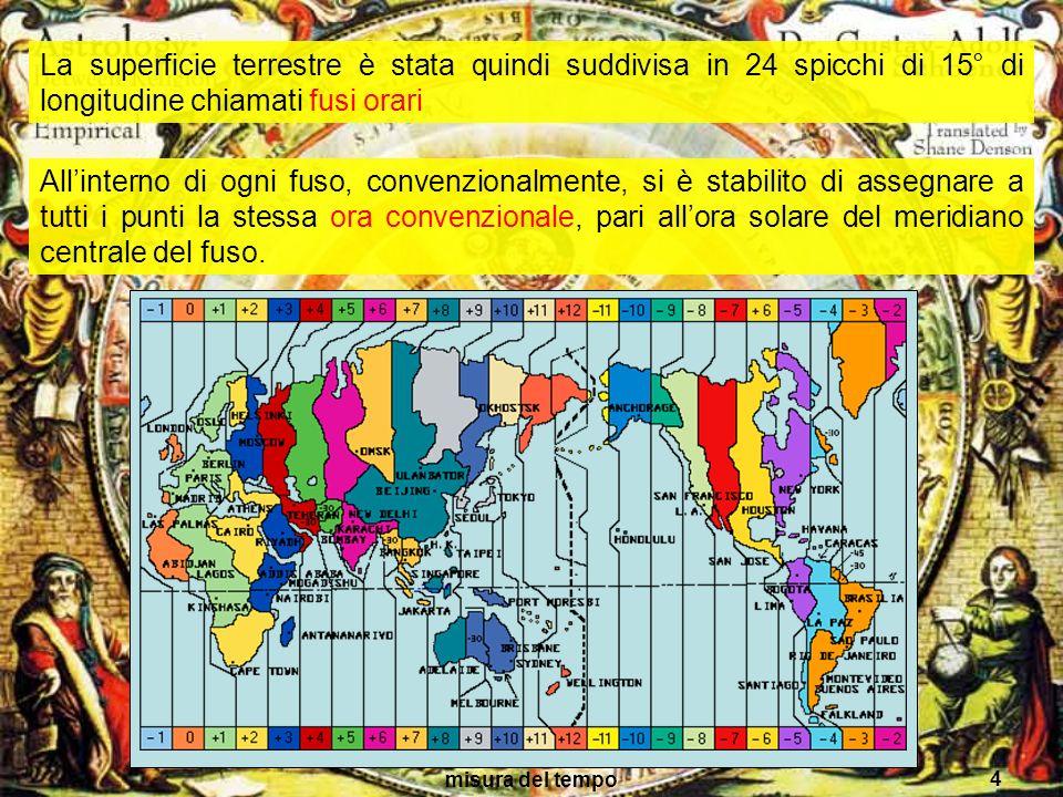 La superficie terrestre è stata quindi suddivisa in 24 spicchi di 15° di longitudine chiamati fusi orari