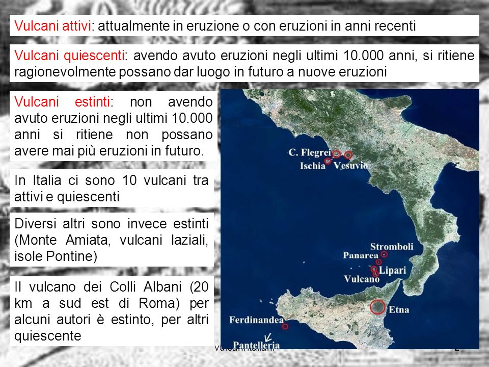 Vulcani attivi: attualmente in eruzione o con eruzioni in anni recenti