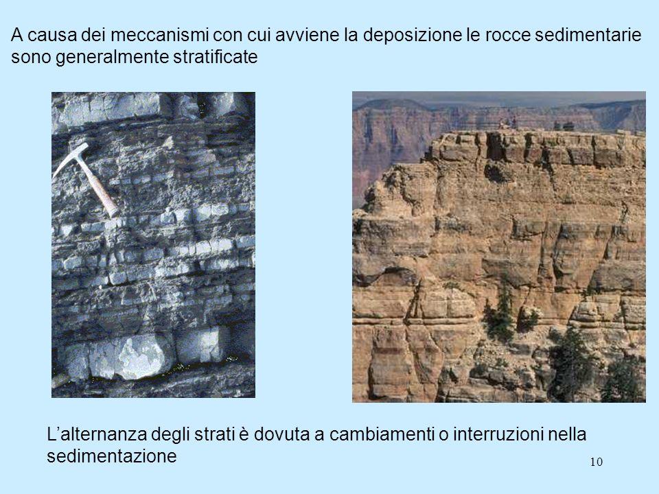 A causa dei meccanismi con cui avviene la deposizione le rocce sedimentarie sono generalmente stratificate