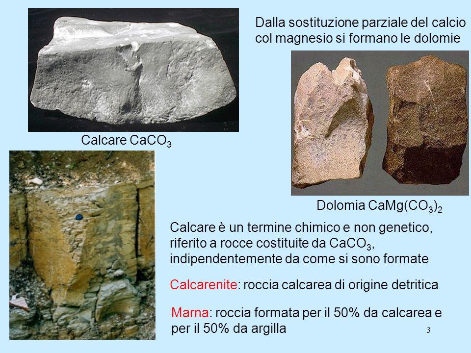 Calcare CaCO3 Dalla sostituzione parziale del calcio col magnesio si formano le dolomie. Dolomia CaMg(CO3)2.