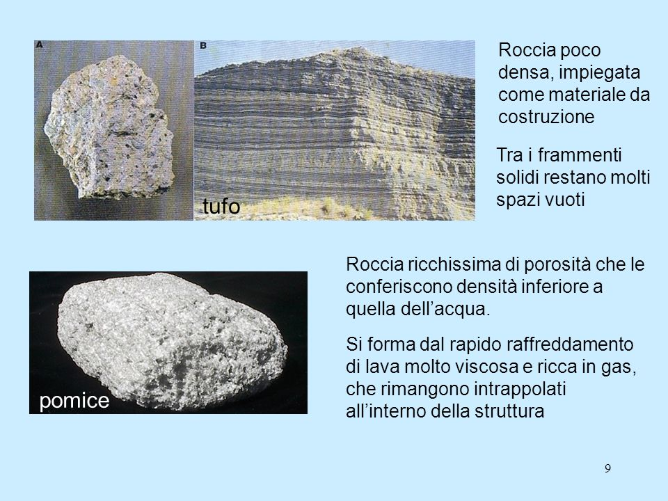 tufo pomice Roccia poco densa, impiegata come materiale da costruzione
