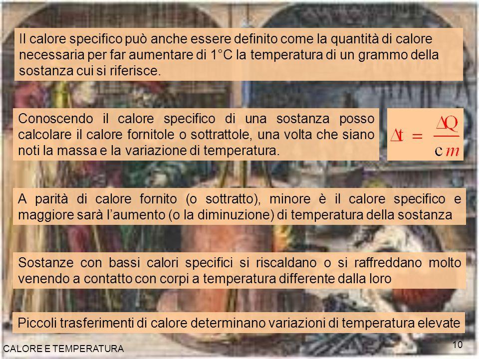 Il calore specifico può anche essere definito come la quantità di calore necessaria per far aumentare di 1°C la temperatura di un grammo della sostanza cui si riferisce.