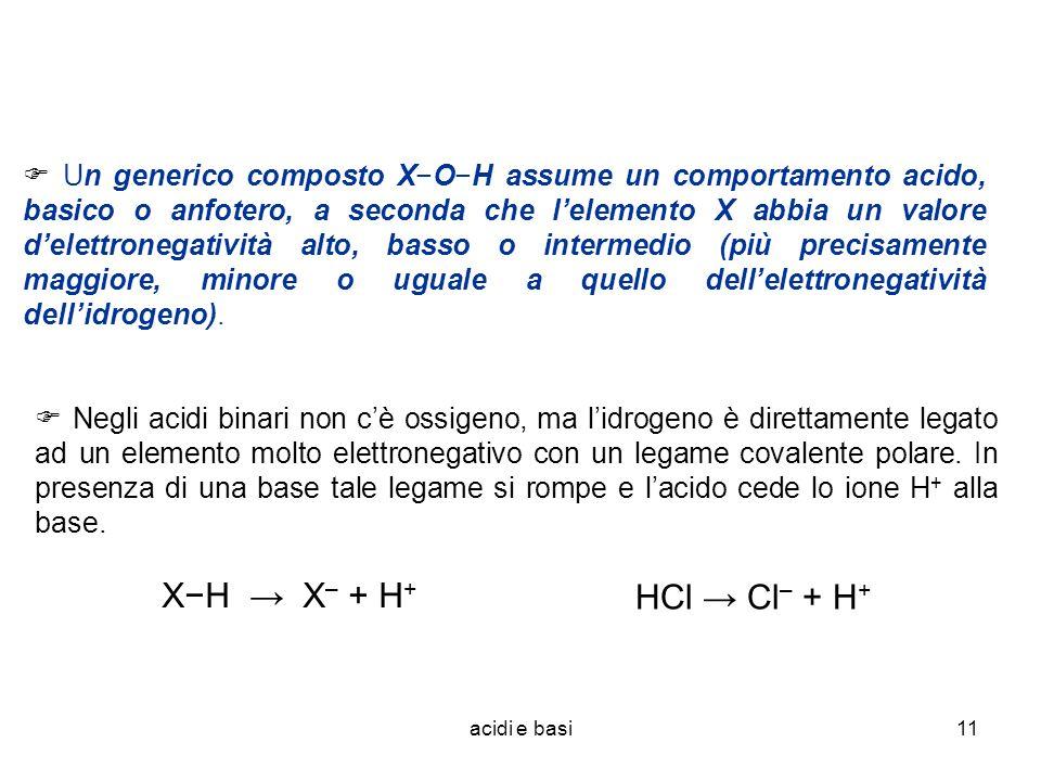  Un generico composto X−O−H assume un comportamento acido, basico o anfotero, a seconda che l'elemento X abbia un valore d'elettronegatività alto, basso o intermedio (più precisamente maggiore, minore o uguale a quello dell'elettronegatività dell'idrogeno).