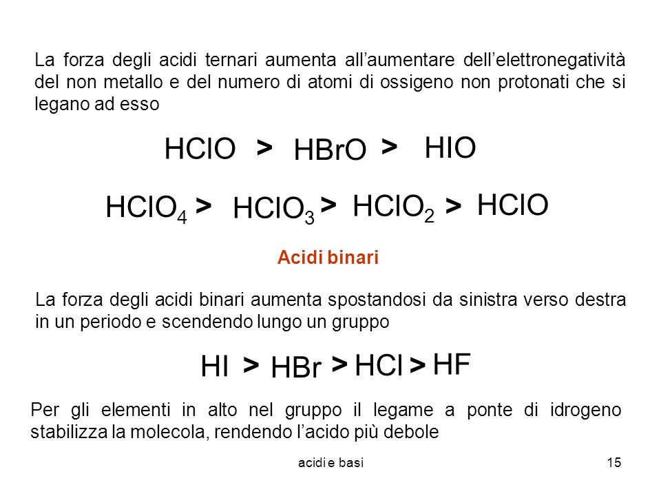 HClO HBrO HIO > HClO4 HClO3 HClO2 > HClO HI HBr HCl > HF