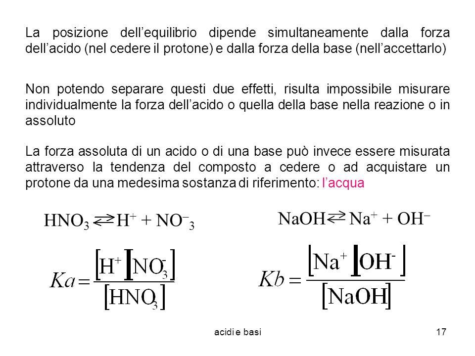 La posizione dell'equilibrio dipende simultaneamente dalla forza dell'acido (nel cedere il protone) e dalla forza della base (nell'accettarlo)