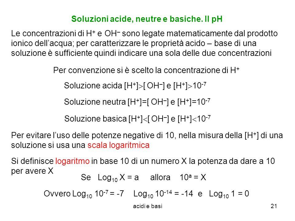 Soluzioni acide, neutre e basiche. Il pH