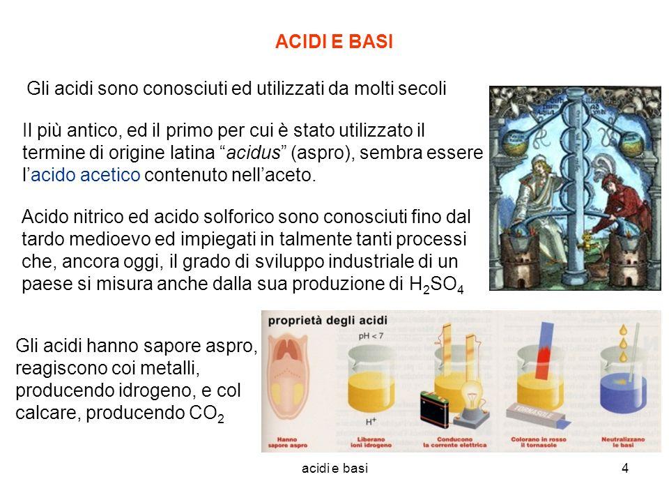 Gli acidi sono conosciuti ed utilizzati da molti secoli