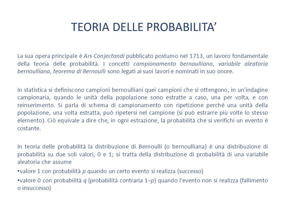 TEORIA DELLE PROBABILITA'