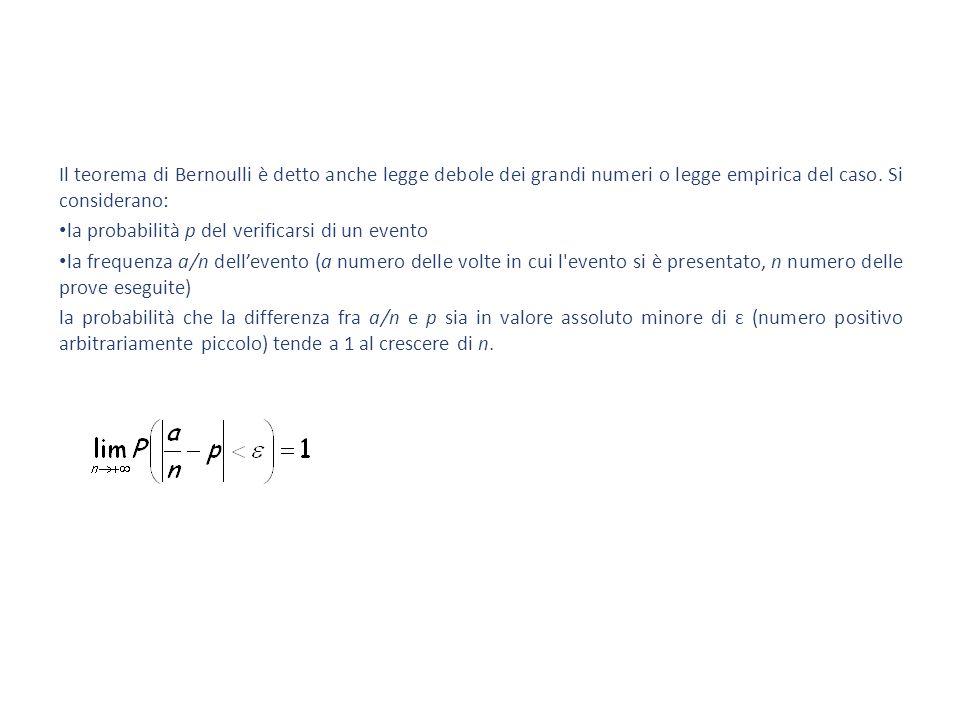 Il teorema di Bernoulli è detto anche legge debole dei grandi numeri o legge empirica del caso. Si considerano: