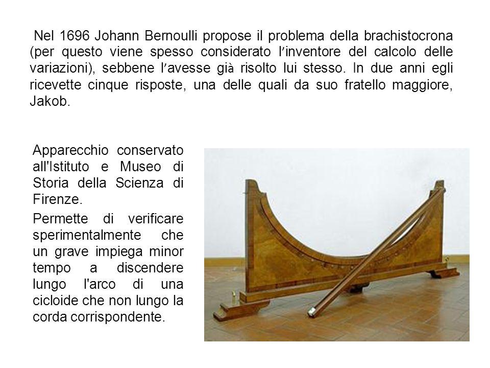 Nel 1696 Johann Bernoulli propose il problema della brachistocrona (per questo viene spesso considerato l'inventore del calcolo delle variazioni), sebbene l'avesse già risolto lui stesso. In due anni egli ricevette cinque risposte, una delle quali da suo fratello maggiore, Jakob.