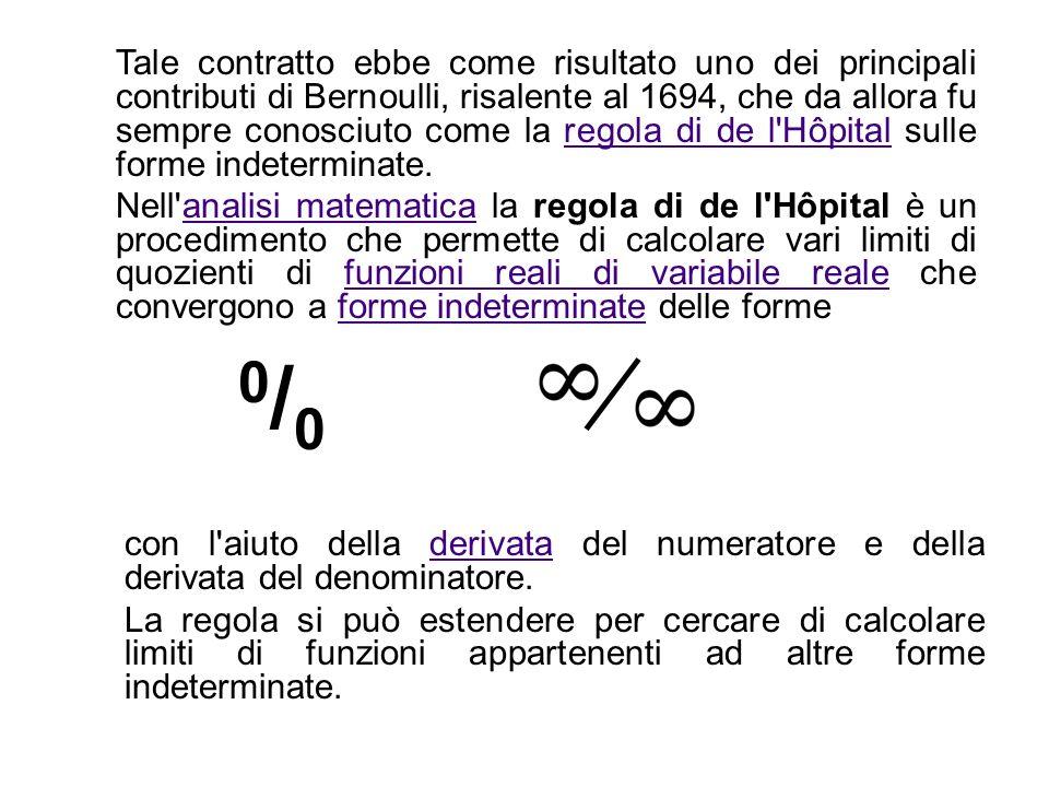Tale contratto ebbe come risultato uno dei principali contributi di Bernoulli, risalente al 1694, che da allora fu sempre conosciuto come la regola di de l Hôpital sulle forme indeterminate.