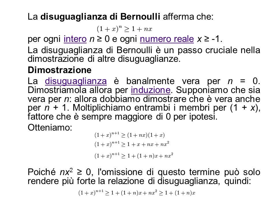 La disuguaglianza di Bernoulli afferma che: