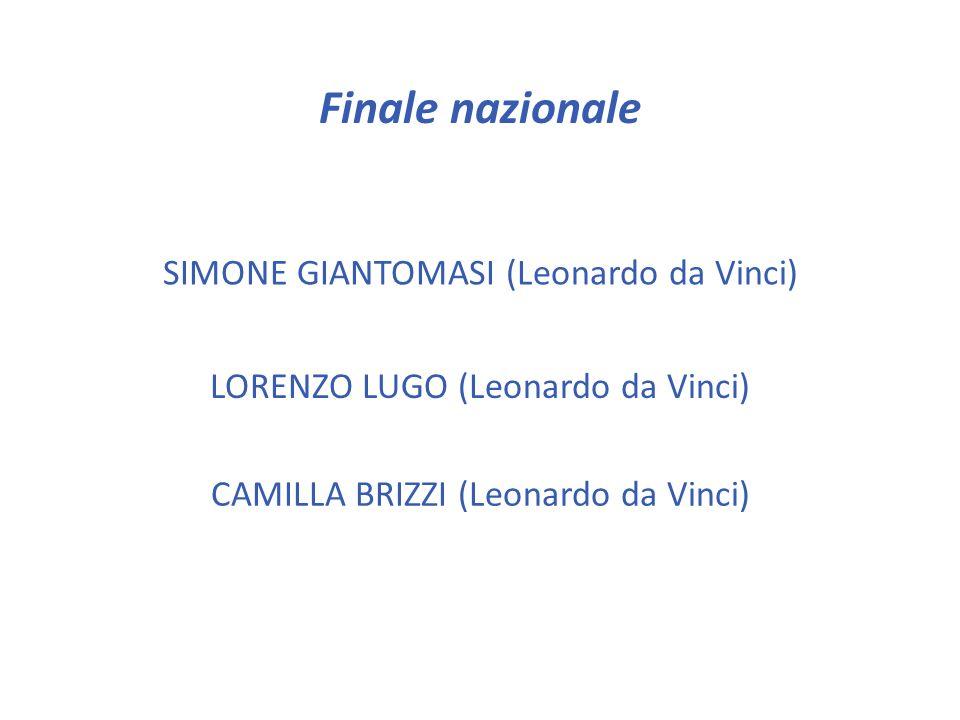 Finale nazionale SIMONE GIANTOMASI (Leonardo da Vinci)