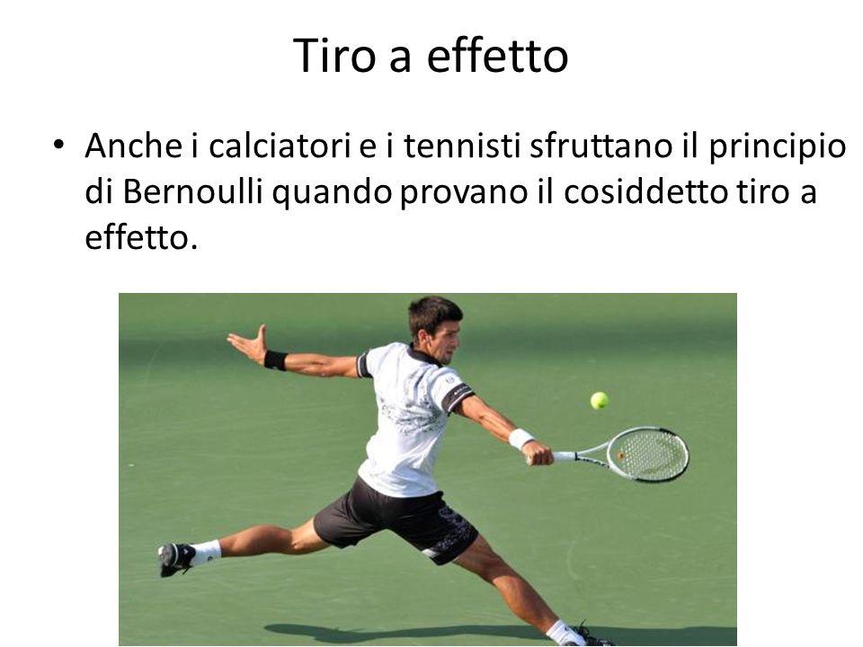 Tiro a effetto Anche i calciatori e i tennisti sfruttano il principio di Bernoulli quando provano il cosiddetto tiro a effetto.