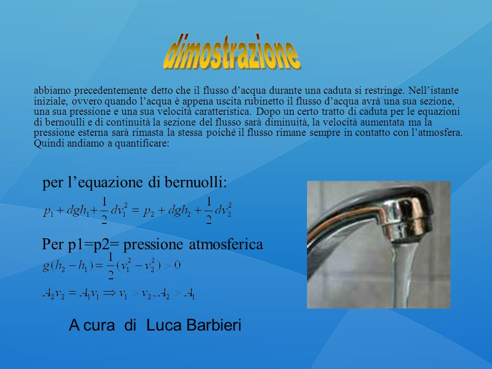 dimostrazione per l'equazione di bernuolli: