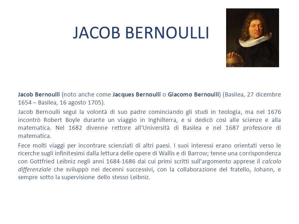 JACOB BERNOULLI Jacob Bernoulli (noto anche come Jacques Bernoulli o Giacomo Bernoulli) (Basilea, 27 dicembre 1654 – Basilea, 16 agosto 1705).