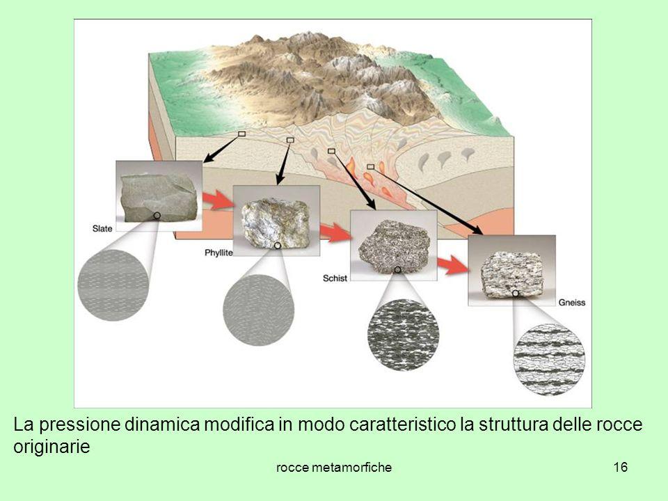 La pressione dinamica modifica in modo caratteristico la struttura delle rocce originarie