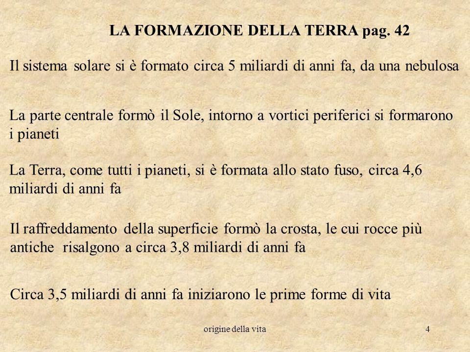 LA FORMAZIONE DELLA TERRA pag. 42