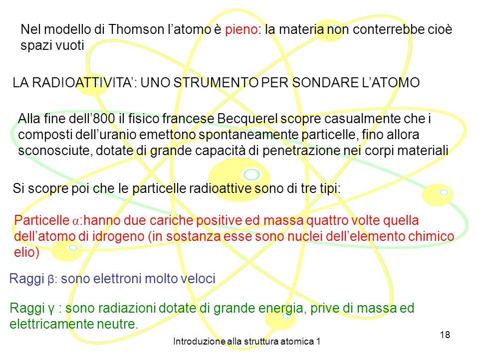 Introduzione alla struttura atomica 1