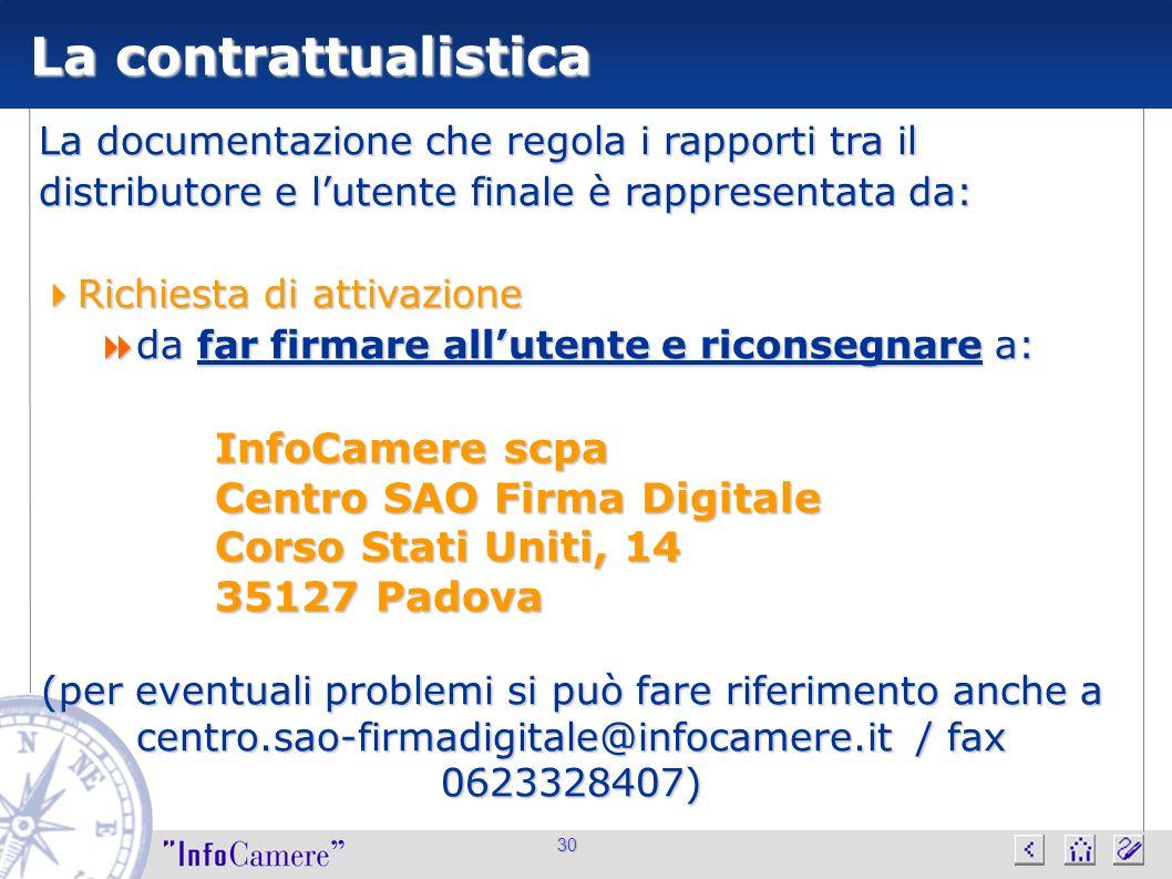 La contrattualistica InfoCamere scpa Centro SAO Firma Digitale