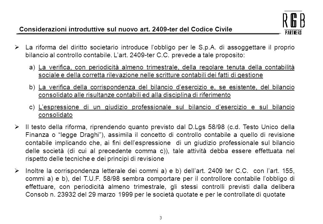 Considerazioni introduttive sul nuovo art. 2409-ter del Codice Civile